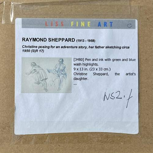 20th Century Pen Work of Raymond Sheppard Drawing his Daughter image-6