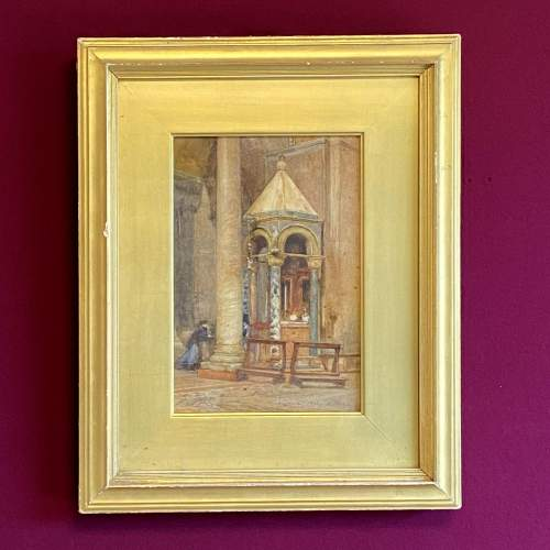 20th Century Watercolour Painting of a Venetian Church Interior image-1