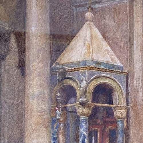 20th Century Watercolour Painting of a Venetian Church Interior image-2
