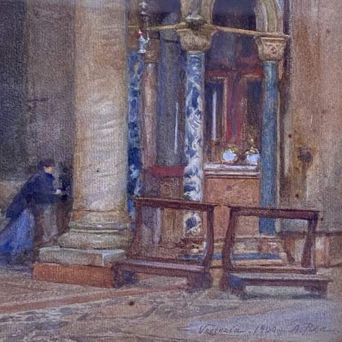 20th Century Watercolour Painting of a Venetian Church Interior image-3
