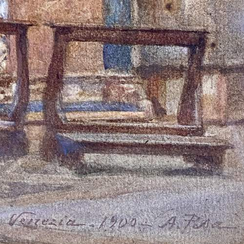 20th Century Watercolour Painting of a Venetian Church Interior image-4