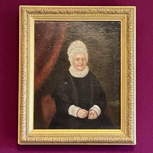 Early Victorian Oil on Canvas Portrait of Elizabeth Fry image-1