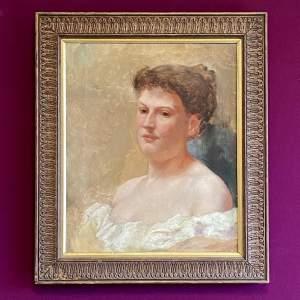 Edwardian Oil on Canvas Portrait of a Pensive Woman