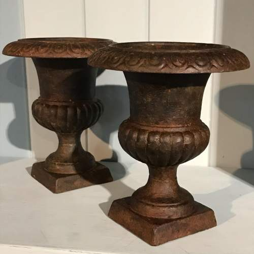 Pair of Small Victorian Cast Iron Urns image-1