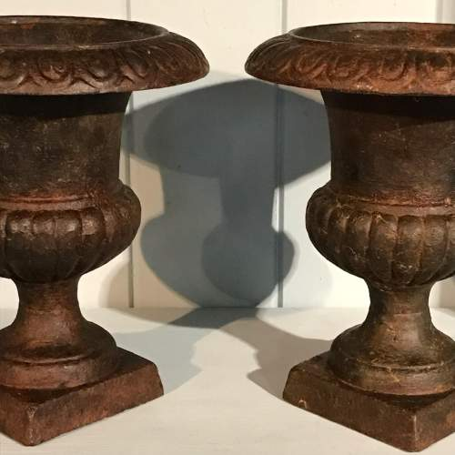 Pair of Small Victorian Cast Iron Urns image-4