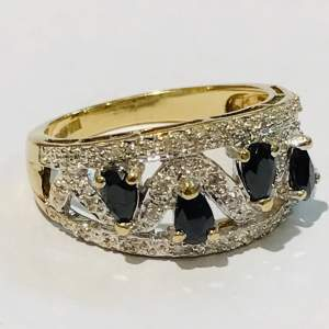 Heavy 9ct Gold Diamond and Sapphire Ring