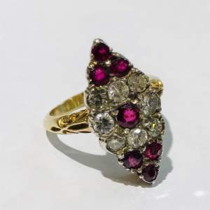 18ct Gold Diamond and Ruby Marquis Ring