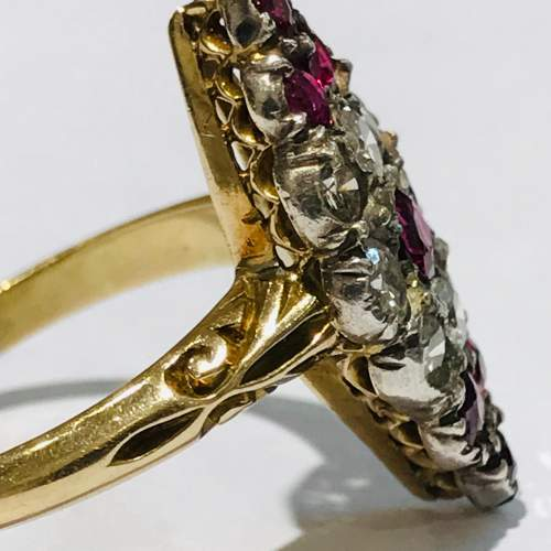 18ct Gold Diamond and Ruby Marquis Ring image-3