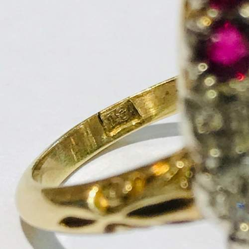18ct Gold Diamond and Ruby Marquis Ring image-4