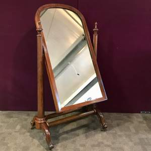 Large Victorian Mahogany Framed Cheval Mirror