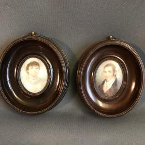 Mid 19th Century Pair of Framed Miniature Oil Paintings