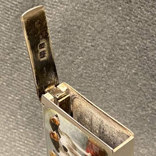 Victorian Silver and Enamel Beagle Vesta Case by Sampson Mordan image-3
