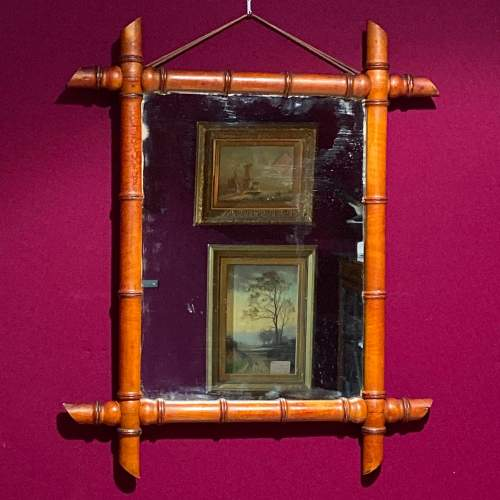Unusual 1920s Faux Bamboo Wall Mirror image-1