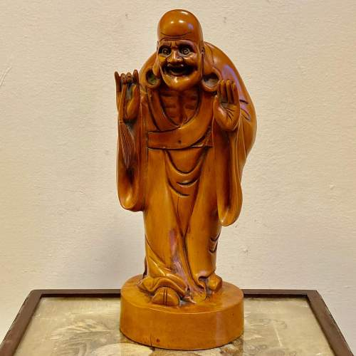 Carved Wood Chinese Deity Statue image-1