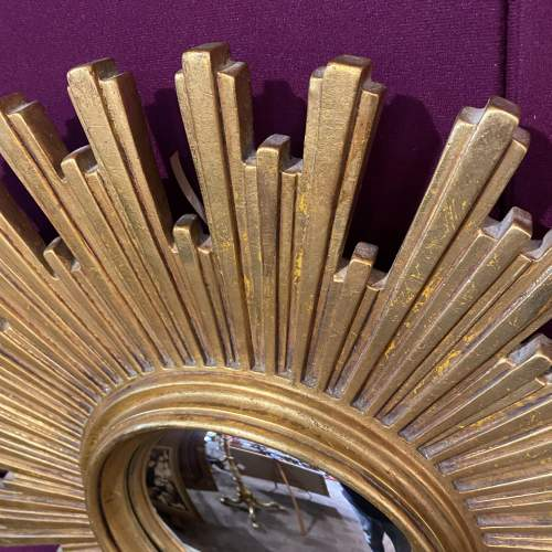 Large French Belgian Sunburst Mirror With Convex Glass image-2