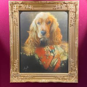 Well Dressed Military Dog Framed Print on Canvas