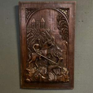 19th Century Carved Oak Panel of a Man Hunting a Deer