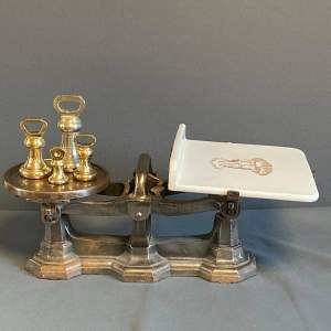 Set of Victorian Dairy Scales with Four Brass Weights