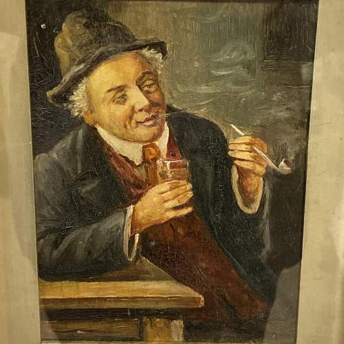 19th Century Oil on Canvas of a Man with a Pipe image-2