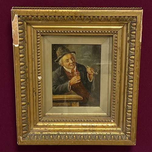 19th Century Oil on Canvas of a Man with a Pipe image-1