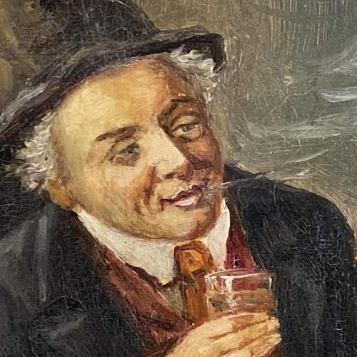 19th Century Oil on Canvas of a Man with a Pipe image-3