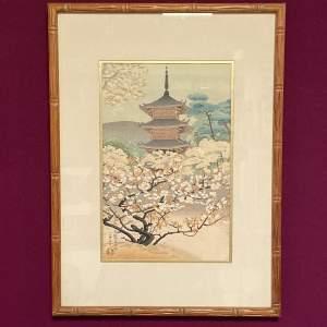 Benji Asada The Pagoda Of Nannaji Temple Woodblock Print