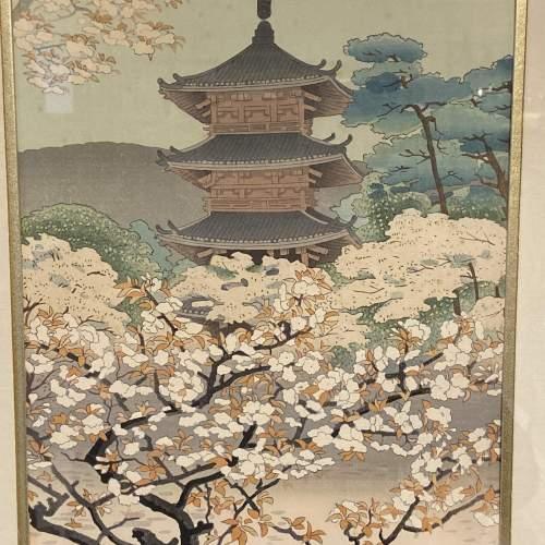Benji Asada The Pagoda Of Nannaji Temple Woodblock Print image-2