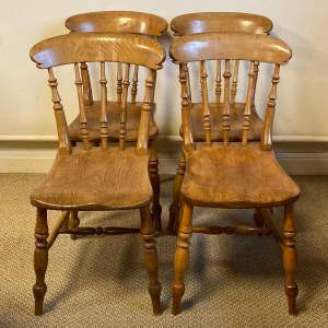 Set of Four Victorian Ash and Elm Farmhouse Chairs