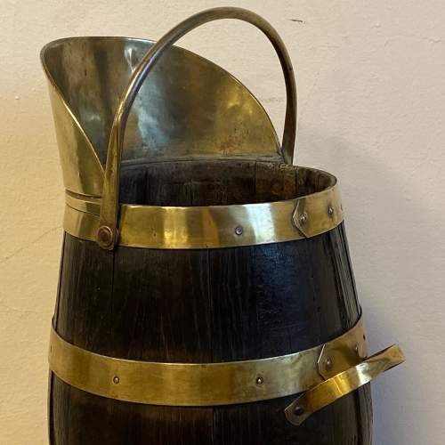 Coopered Oak and Brass Coal Bucket image-2