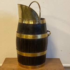 Coopered Oak and Brass Coal Bucket