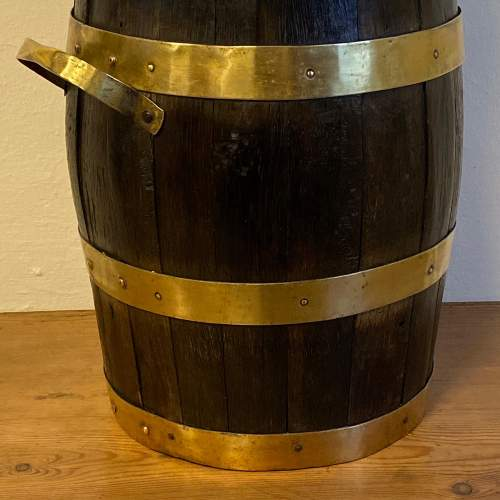 Coopered Oak and Brass Coal Bucket image-3