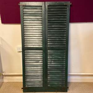 Pair of Painted French Louvered Shutters