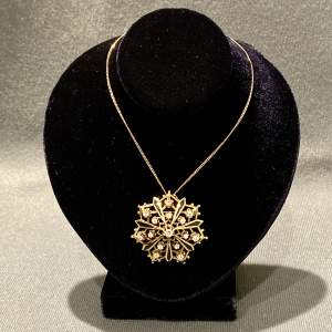 14ct Gold Diamond and Enamel Pendant