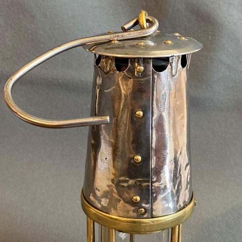 Original Early Vintage Steel and Brass Miners Lamp image-4