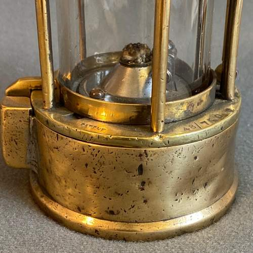 Original Early Vintage Steel and Brass Miners Lamp image-6