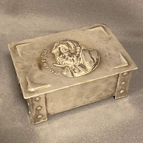 Arts and Crafts Silver Plated Box with Portrait of Captain Cuttle image-1