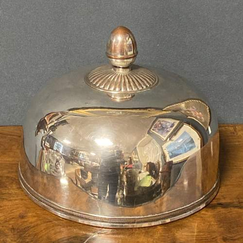 Victorian Round Silver Plate on Copper Meat Dome image-1