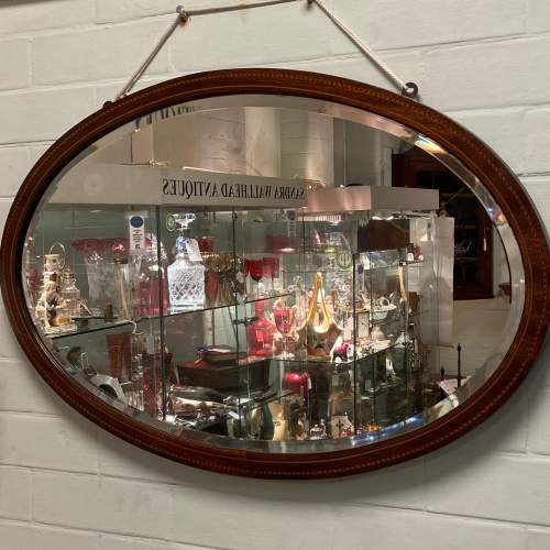 Mahogany Inlaid Oval Wall Mirror image-1