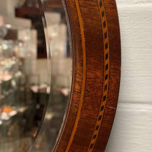 Mahogany Inlaid Oval Wall Mirror image-2