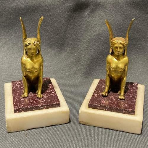 Pair of Miniature Fine Gilt Winged Sphinx Statues image-1