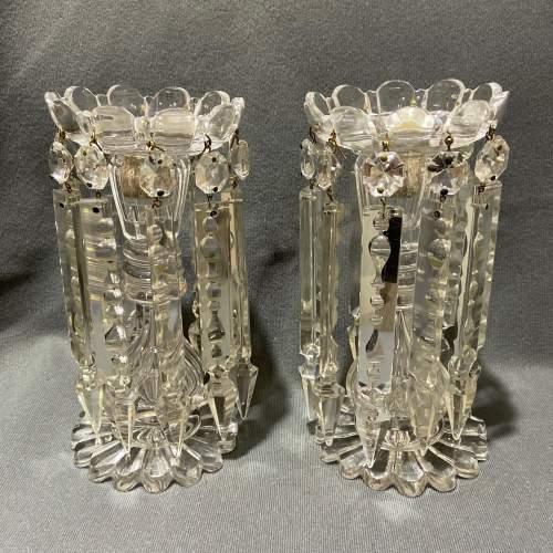 Pair of William IV Cut Glass Lustre Candlesticks image-1