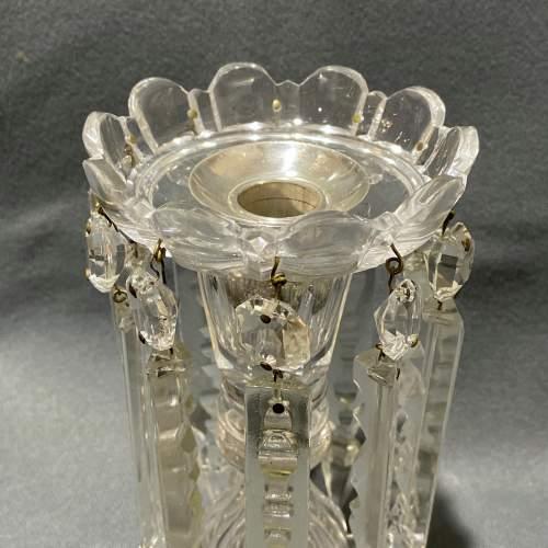 Pair of William IV Cut Glass Lustre Candlesticks image-3