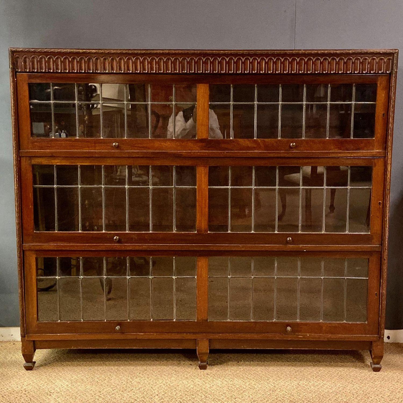 Mahogany And Leaded Glass Bookcase