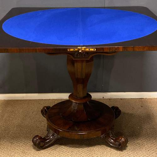 Victorian Rosewood Carved Folding Card Table image-6