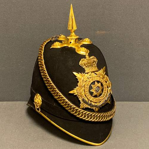Victorian East Yorkshire Officers Blue Cloth Helmet and Tin image-1