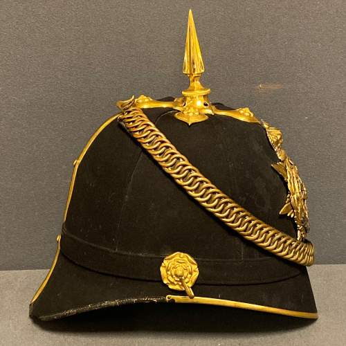 Victorian East Yorkshire Officers Blue Cloth Helmet and Tin image-2