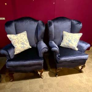 Pair of Well Constructed English Wing Armchairs