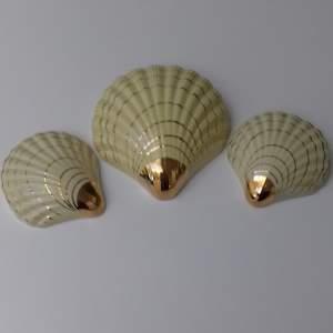 Set of Three Art Deco Shell Shaped Wall Pocket Vases