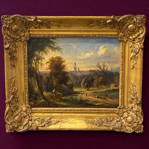 Mid 19th Century Landscape Oil on Canvas Painting image-1
