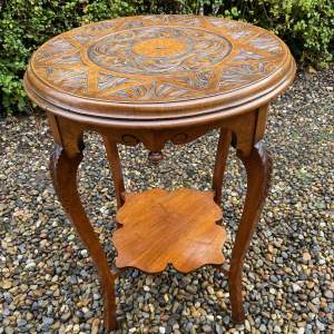 Victorian Carved Walnut Occasional Table